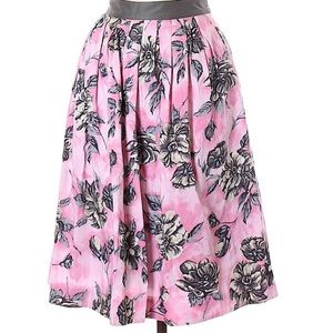 Anthropologie Odille Pink Floral Midi Skirt 10